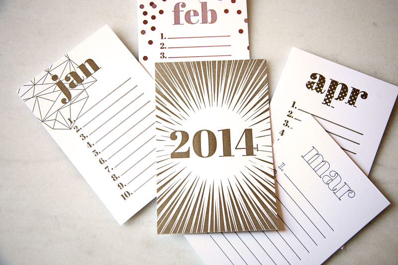 Letterpress Monthly To Do Cards from Bing