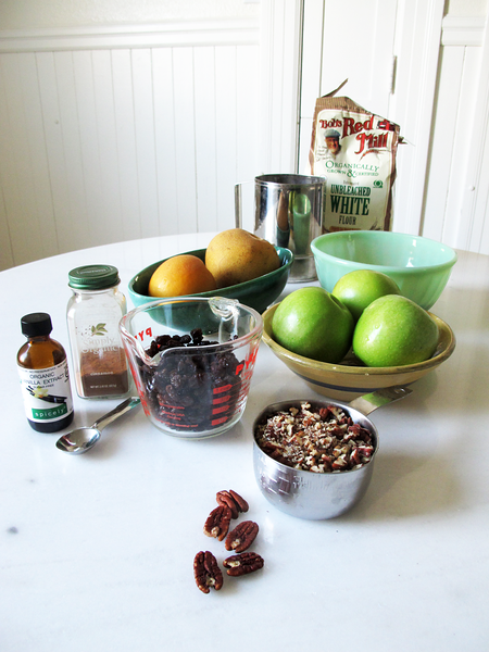 Ingredients for Making a Chopped Apple Pear Cake