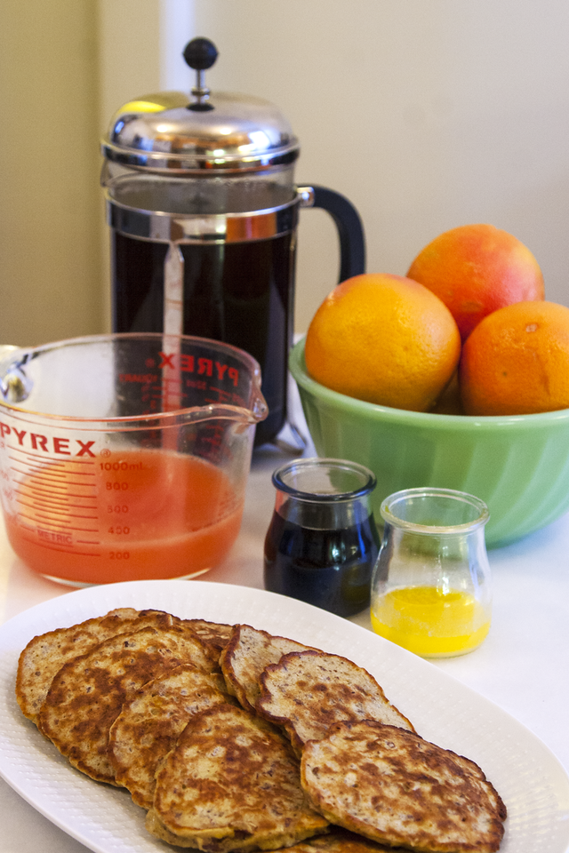 Banana Pecan Pancakes with French Press Coffee and Freshly Squeezed Grapefruit Juice