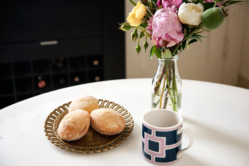 Peonies in a Milk Bottle with Pastries and Coffee